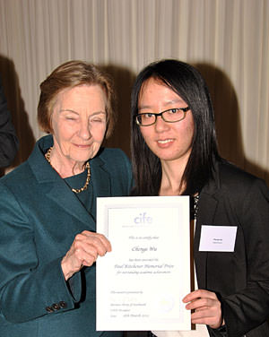Bath Academy Chenge Wu receives CIFE prize from Baroness Perry