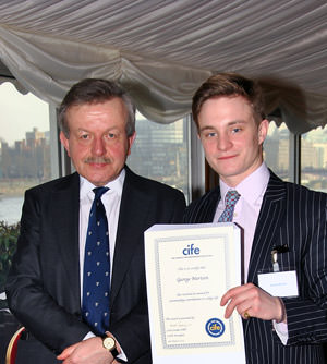 Bath student George Merison receives CIFE Award from Lord Lexden