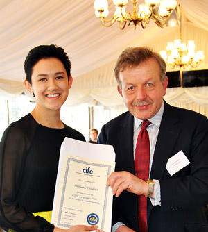 Collingham-student-Stephanie-Childress-receives-CIFE-Prize