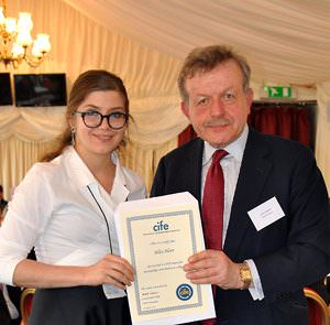 Duff-Miller-student-Alice-Hart-receives-CIFE-award