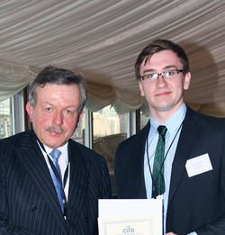 Nathan Tomlinson with Lord Lexden CIFE awards