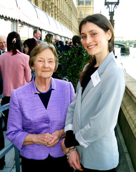 CIFE Gold Award winner Poppy Waskett with Baroness Perry